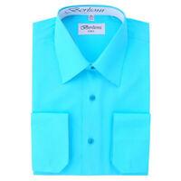 Berlioni Italy Men's Convertible Cuff Solid Italian French Dress Shirt Aqua