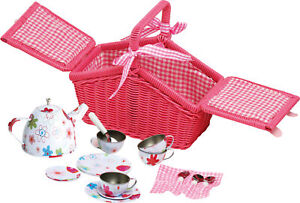SMALL FOOT Picknickkorb Bunte Blumen Korb Kinder Puppenpicknick pink Geschirr