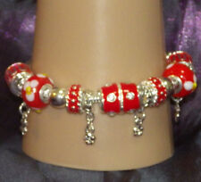 New 925 Sterling Silver Filled and Red Enamel Fashion Charm Bracelet