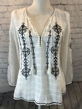Joie Lemay Boho Peasant Long Sleeve Embroidered Tie Neck Blouse Small White