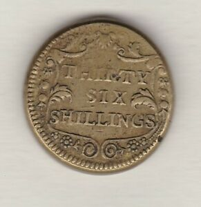 OLD THIRTY SIX SHILLINGS BRASS COIN WEIGHT IN GOOD VERY FINE CONDITION
