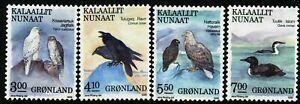 Greenland 1988 Birds facit 181 - 184. Icedivers, ravens, falcon. MNH
