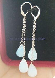 White Blue Fire Opal Drop Silver Plated Link Leverback Hook Dangle Earrings