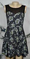 ERIC + LANI Black Gray Floral Print Sleeveless Dress Medium Sheer Shoulders