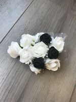 Flower corsage Mother of the Bride . foam roses . wedding pin. Black Buttonhole