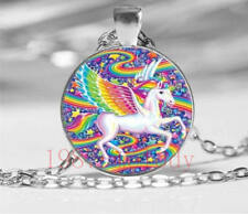 New charm Cabochon Glass Necklace Silver pendants(rainbow unicorn