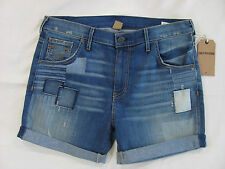 True Religion BRAND Jeans Women's Size 28 Bailey Mid Rise Denim PATCHED Shorts