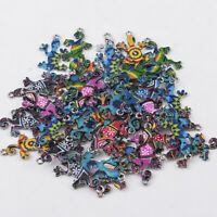 10Pcs Colorful Alloy Gecko Beads Connector Charms Pendant DIY Jewelry Making EN