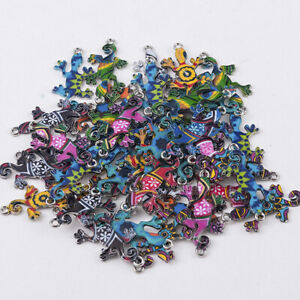 10Pcs Colorful Alloy Gecko Beads Connector Charms Pendant Jewelry DIY Making EN