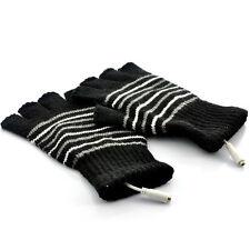 USB Heated Warm Gloves for Men - Fingerless - Black (Pair)