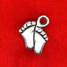 30 X De Plata Tibetana Baby Pies encanto Colgantes encontrar grano de la fabricación de joyas