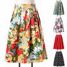 Lady Pleated Vintage 50s 60s High Wasit Skirts Retro Floral Swing Flared Dress