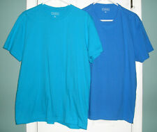 2 Men's Shirts by Club Room Size L Teal Blue Short Sleeve T-Shirts