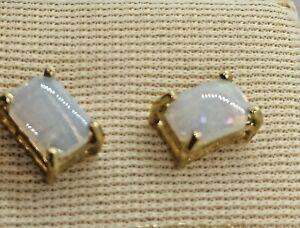 14 Carat Gold Stud Earrings Set With Genuine Opal Stones