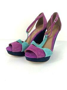 Bonbon FANCY Suede Purple Teal Peep Toe Strappy Wedge High Heels Size 8