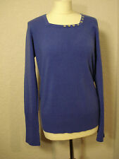 M&Co blue button trimmed jumper 16