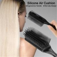 Black Plastic Anti-static Hair Brush Massage Comb Combing Brush With Handle MP