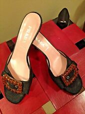 Black Prada Amber Bead Buckle Slides Size 36.5 6.5
