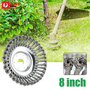 "8"" Trimmer Head Grass Strimmer Brush Solid Steel Wire Wheel Garden Weed Cutter"