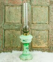 Antique OIL LAMP with Green Opaline Glass Brass spirit burner c1920