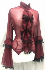Raven Halloween Gothic Mortician Dress Pointed Net Fringes On Sleeves Size M//12