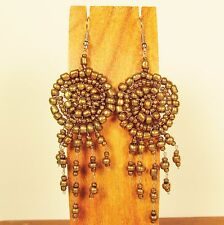 """2 1/2"""" LONG Gold Color Handmade Dream Catcher Style Dangle Seed Bead Earring"""