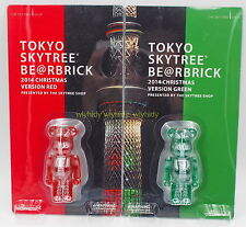 Tokyo Skytree 100% Bearbrick 2014 Christmas Version RED & GREEN, 2pc-Medicom