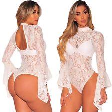 Club Top Body aperto Ricamo Pizzo Nudo Cerimonia Party Ballo Lace Bodysuit M