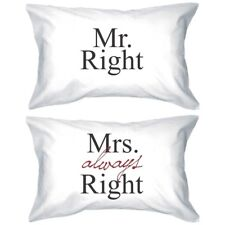 His and Hers Matching Pillowcases - Mr Right and Mrs Always Right Pillow Covers