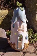 Keramik Windlicht Feen-Häuschen mint 27x10cm Teelicht Gartendekoration