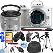 Canon EOS M50 Digital Camera with 15-45mm Lens (White) + 32GB + Flash Bundle