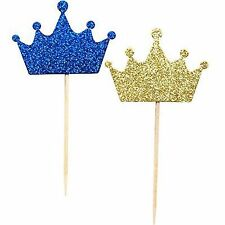 Wxy 36-Pack Blue And Gold Crown Picks, Royal Prince Cupcake Toppers For Birthday