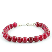 GENUINE RARE 134.85 CTS EARTH MINED ROUND SHAPED RICH RED RUBY BEADS BRACELET