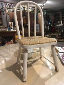 Vintage Childs Chair Wood Bow Back Chippy Rustic Decor Needs TLC Rounded Back