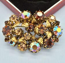 Vintage Brooch Austria 1950s Amber & AB Crystal Goldtone Leaves Bridal Jewellery