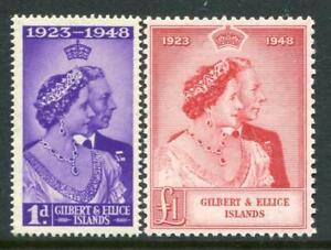 Gilbert & Ellice Islands 1948 Silver Wedding Set SG57/8  MNH