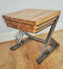 Bespoke Solid oak and steel nesting tables, handmade, side table, end table
