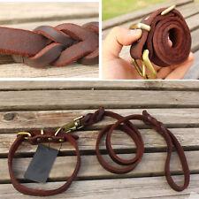 New Medium Breed Dog Leash & Collar Set Genuine Real Ox Leather Dog Collar Lead