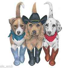 Western Dogs In Boots  HEAT PRESS TRANSFER for T Shirt Sweatshirt Fabric #913e
