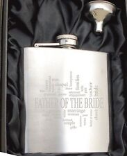 Personalised HF505 Engraved Father of the Bride 6oz Hip Flask with Gift Box