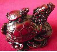 Dragon Headed Turtle Standing on Money Coins Red Resin Figure 8cm x 5.5cm