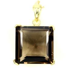 REAL Sq. Cut 20mm Smoky Quartz 14K YELLOW GOLD ON 925 Silver Pendant Chain Free