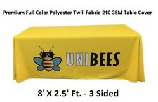 8ft. Premium Full Color Custom Table Cover/Throw Tradeshow 3 Sided Tablecloth