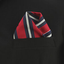 "Pocket Square Mens Hanky Red Navy Blue Striped 10"" Dress Suit Handkerchief New"