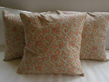 "Pretty Cushion Covers (3) Shabby Chic, Vintage,""Zinnia"" Duck Egg, Pink, Rust."