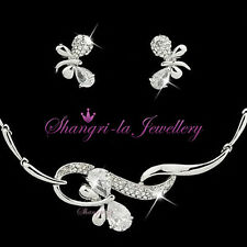 18K WHITE GOLD GP BUTTERFLY Wedding Bridal SET with SWAROVSKI CRYSTAL 13351