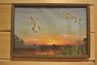 Vintage Print of Sun Set  with Ducks~ Wood Frame