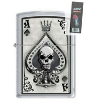 Zippo 4858 Ace of Spades Skull Satin Chrome Finish Lighter + FLINT PACK
