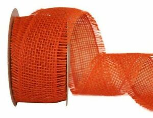 "10 yd. roll  ORANGE COUNTRY WEAVE FRINGE BURLAP RIBBON  2 1/2"" Wide"