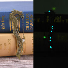 Retro Glow In The Dark Leaf Feaher Book Mark With Dragon Luminous Bookmark PT